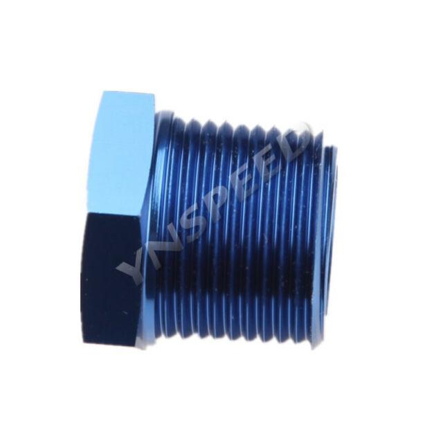 Aluminum Alloy 3/4'' NPT Plug Fitting Hex Head Plug Male Fuel Adapter Blue