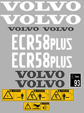VOLVO ECR58 PLUS DIGGER COMPLETE DECAL STICKER SET WITH SAFETY WARNING DECALS