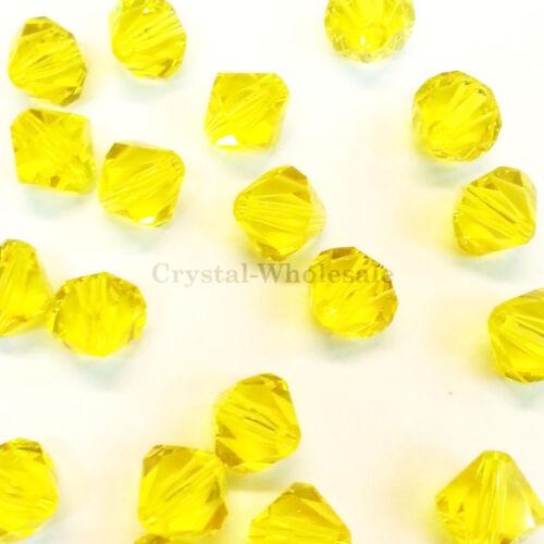 249 yellow Genuine Swarovski crystal 5328 XILION Bicone Beads 6mm Citrine