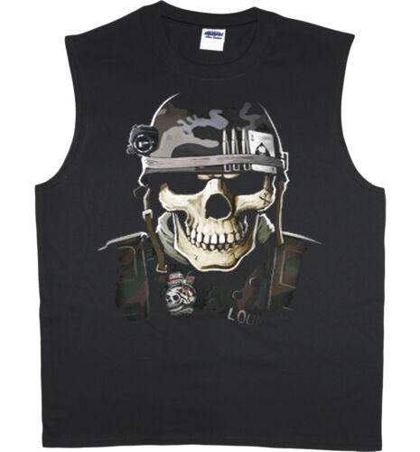 Men/'s sleeveless shirt US Army Navy Marines USMC skull tank top tee