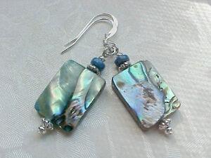 Abalone-Shell-Earrings-Beach-Blue-Lapis-Lazuli-Peacock-Green-Handmade-Sundance