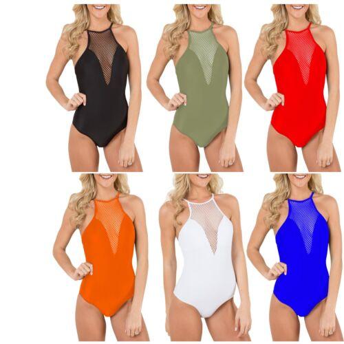 Women Fish Net Plunge Cami Halterneck Bodysuit Strap Backless Tie Leotard Top