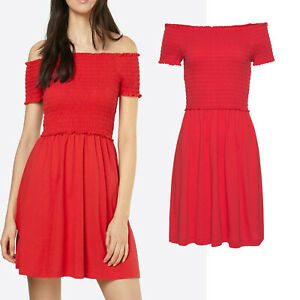 beste Qualität Release-Info zu beste Wahl wow MARKEN Sommer Carmen KLEID ROT Jersey Shirtkleid Gr.38 ...