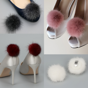 Ornament Heels Boots Charms Chic Crafts Pair Mink Fur Pompom Shoe Clips Fluffy