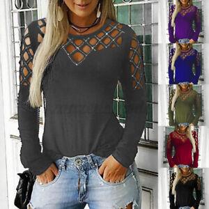 Mode-Femme-Haut-Creux-Coupe-Slim-Club-Cocktail-Manche-Longue-Shirt-Tops-Plus