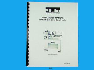 Jet Bd 920n Belt Drive Bench Lathe Owners Manual 218
