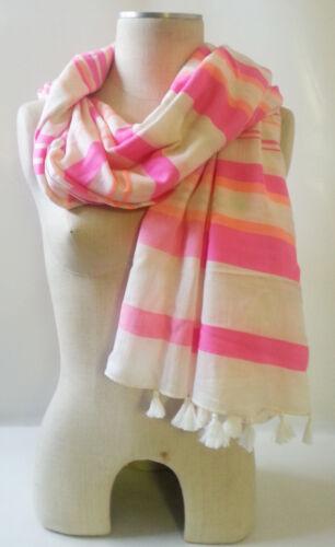 """STELLA /& DOT Capri Wrap Scarf CORAL STRIPE Cotton//Acrylic Blend 44/""""x54/"""" no bag"""