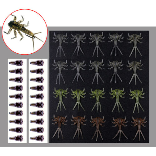 Wifreo 20PCS Realistic Mayfly Nymph Fly Tying Material Trout Fly Fishing Fly