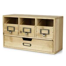 Wood Desktop Office Organizer Drawers Set Storage Cabinet Natural Wood Office