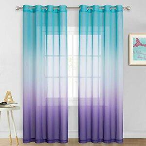 Teal And Purple Mermaid Sheer Curtains Bedroom Girls Room ...