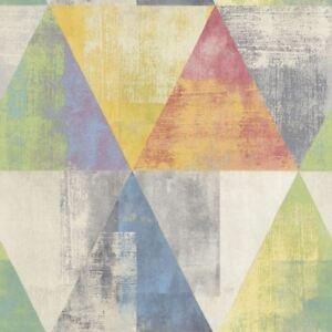 Detalles De Geometric Triangle Wallpaper Paste Wall Vinyl Green Blue Yellow Red Pastel Rasch