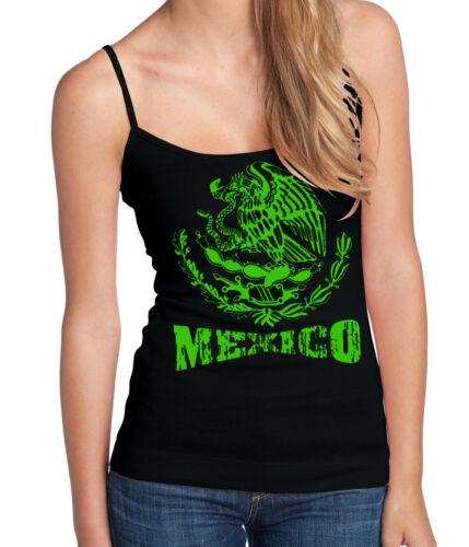 New Green Mexico Seal Spaghetti Strap Black Tank Top Mexican Pride Tee Latina