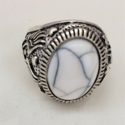 Hot Vintage woman 316L Stainless Steel Vogue Design Mini Stone Ring Size 10 @