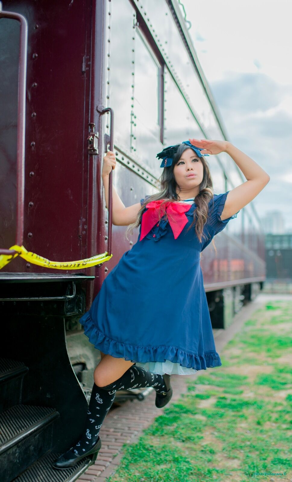 Dear Celine Blau Sailor Lolita Dress and Bow Größe S