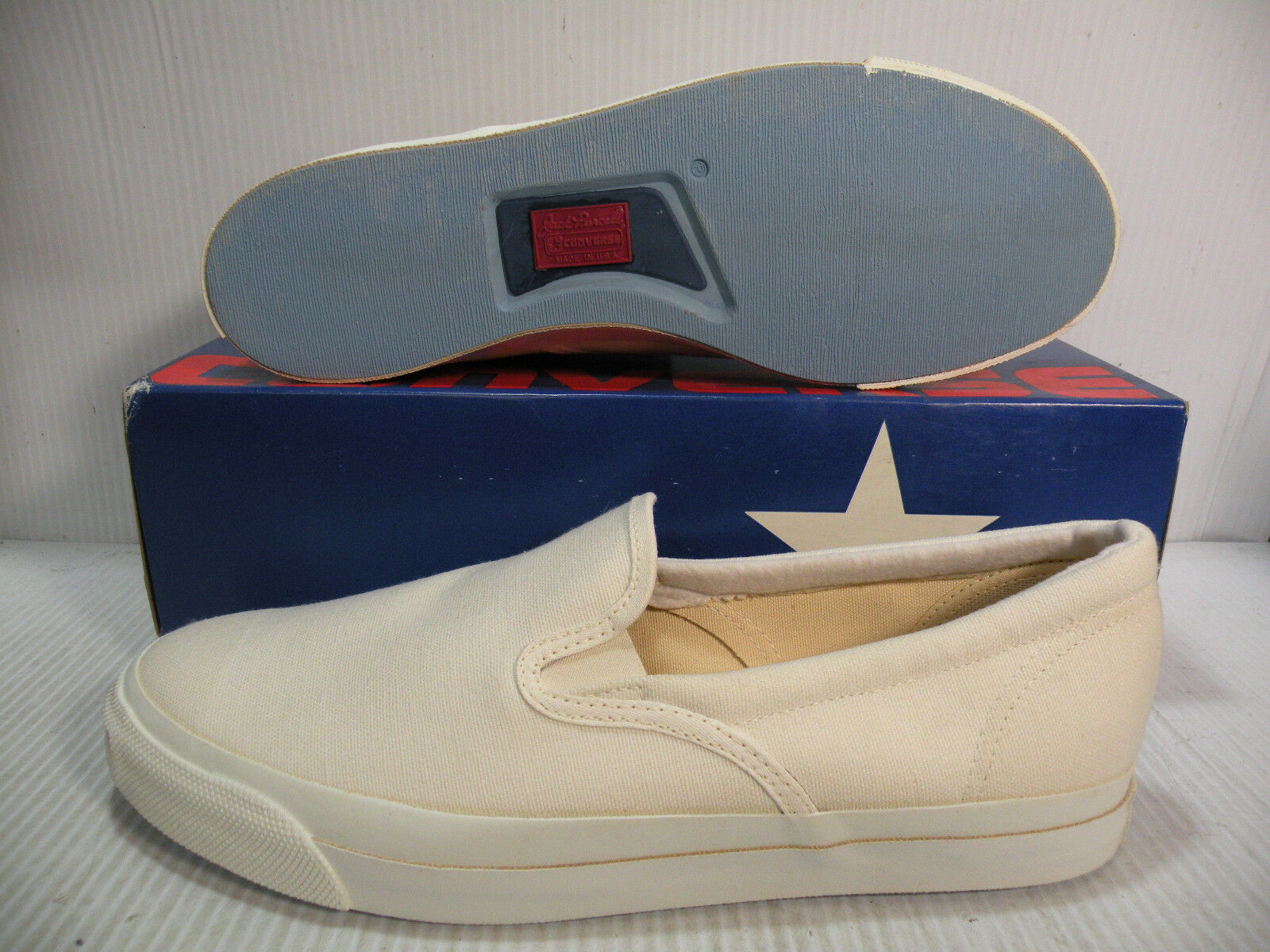 CONVERSE JACK PURCELL SLIP-ON VINTAGE  USA  MEN scarpe Dimensione 12 bianca A4423 NEW