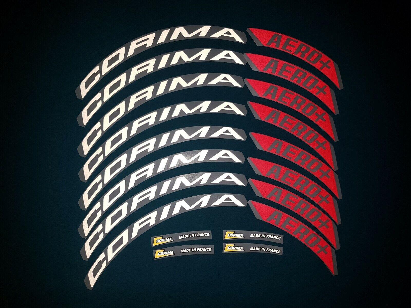CORIMA AERO +  WHITE   RED REFLECTIVE     REPLACEMENT RIM DECAL SET FOR TWO RIMS