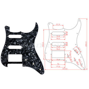 2-Black-Pearl-3-Ply-HSS-Electric-Guitar-Pickguard-For-Fender-Strat-Stratocaster