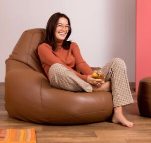 Icon-Luxury-Real-Leather-Bean-Bag-XX-Large-Recliner-Chair-Vintage-Tan