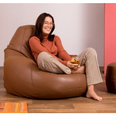 Icon® Luxury Real Leather Bean Bag - XX Large Recliner Chair - Vintage Tan