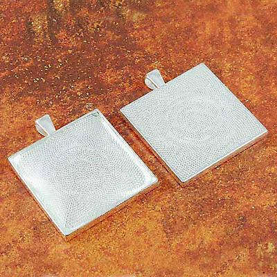 "10 QTY 35MM 1 3//8/"" Inch SQUARE ANTIQUE COPPER Pendant Tray /& DOME GLASS"