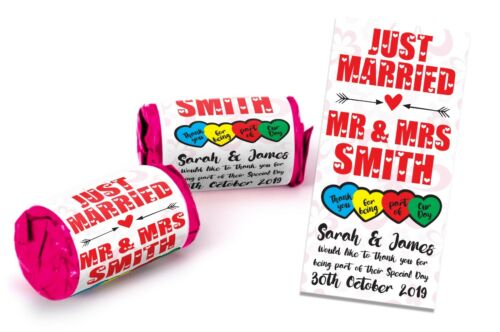 X200 Wedding Favours Personalised Mini Love Hearts Sweets Just Married Poison #8