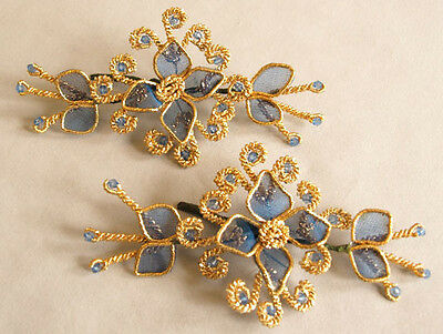 Two 3-Dimensional, Jeweled Appliques. Artisan Crafted