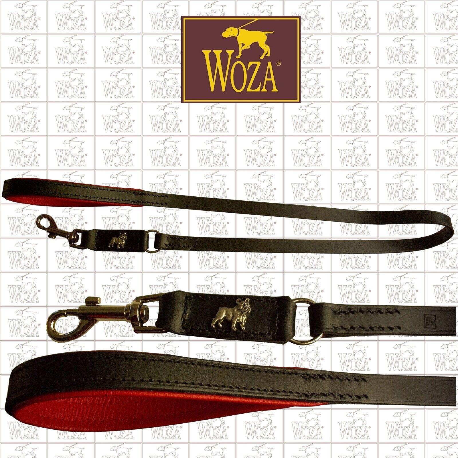 WOZA Premium Hundeleine Französische Bulldogge Vollleder Handgenäht Nappa LE1838  | Sale Online Shop