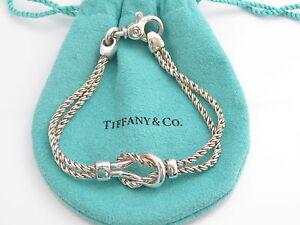 422cd0b94 Tiffany & Co Silver Double Rope Love Knot Bracelet Bangle | eBay