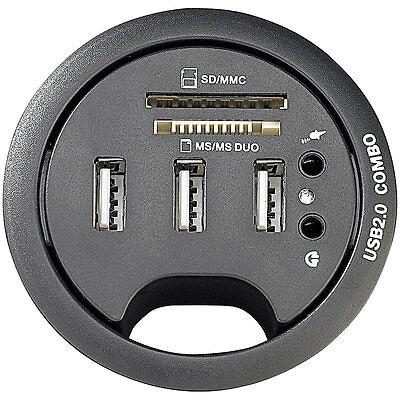 Tisch USB Dose: Tisch Kabeldose 60 mm, USB 2.0 Hub, Card Reader, Audioanschluss | eBay
