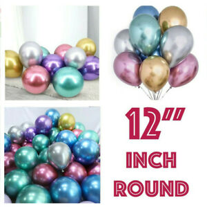 10-20-CHROME-BALLOONS-METALLIC-LATEX-PEARL-12-034-Helium-Birthday-Party-Baloon