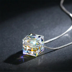 Fashion-Womens-Jewelry-Magic-Cube-Silver-Crystal-chain-Necklace-Pendant-Gift-New