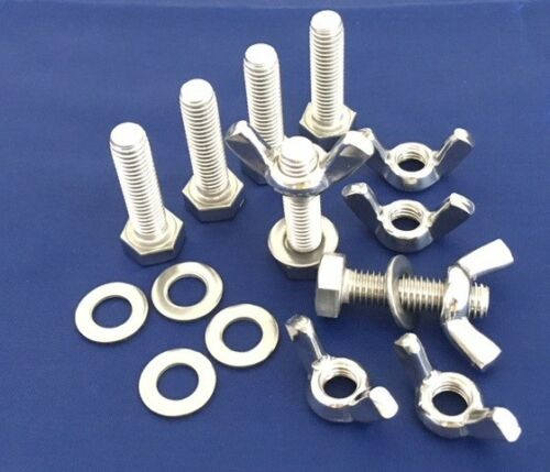 Wing Nuts and Washers M5 Stainless Steel Bolts Full Thread Pack of 6, 12 or 24