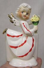 Vintage Christmas Angel Planter Holds Bouquet Red Striped Gown Circa 1950s
