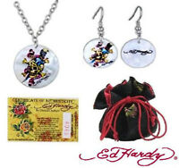 Ed Hardy Skull & Dagger Shell Necklace Earrings Set