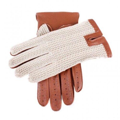 Dents Lancaster Crochet Back Leather Driving Gloves COGNAC