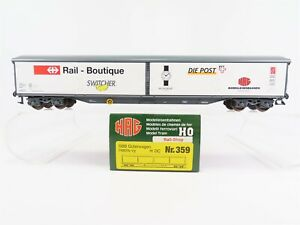 HO-Scale-HAG-359-SBB-Habilis-vy-Railshop-Slide-Side-Wall-Boxcar-European-Freight