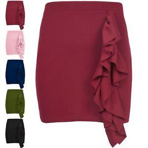 Ladies Side Peplum Ruffle Frill Hem Womens Elasticated Waist Bodycon Mini Skirt
