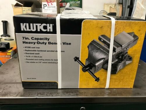 39534 NEW KLUTCH 7 IN CAPACITY HEAVY DUTY BENCH VISE HT200 CAST IRON