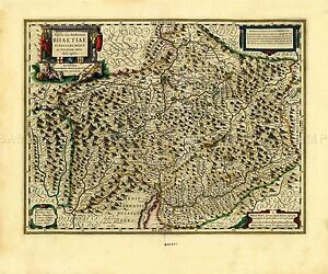 MAP-ANTIQUE-BLAEU-THEATRE-DU-MONDE-SWISS-RAETIA-REPLICA-POSTER-PRINT-PAM0688