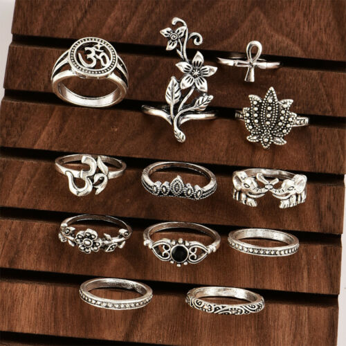 Bohemian Antique Silver Crystal Knuckle Ring Geometric Elephant Flower Carving