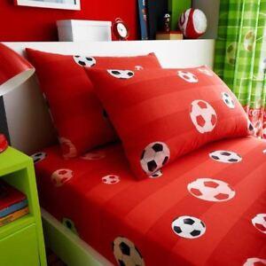 But-Football-Drap-Simple-amp-Set-Taie-D-039-Oreiller-Rouge-Enfants-Raye