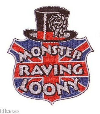 """OFFICIAL MONSTER RAVING LOONY PARTY EMBROIDERED PATCH 8.5 x 9.5CM (3 1/2"""" X 4"""")"""