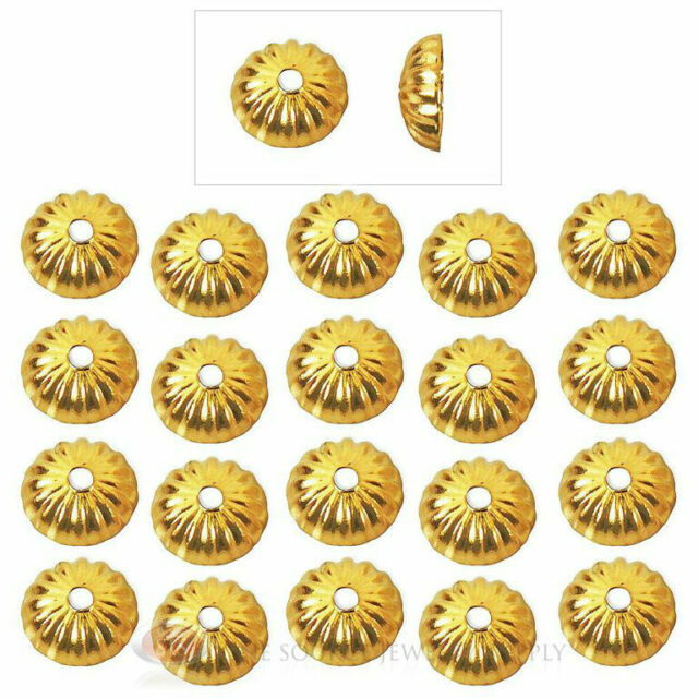 (20) 22k Gold Plated 5mm Fluted Domed Bead Caps Jewelry Necklace