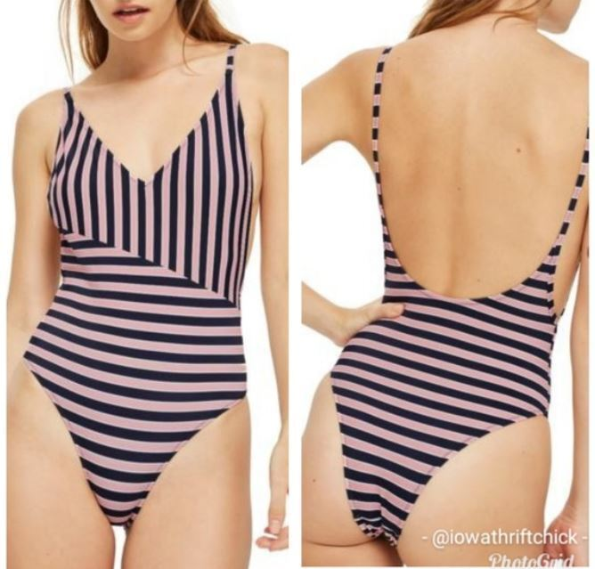 NWT TOPSHOP Pamela One-Piece Striped Swimming Suit Women's Size US 10