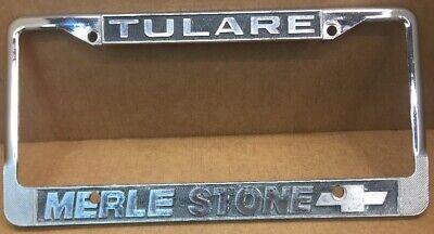 Tulare Ca Merle Stone Chevrolet Car Dealer License Plate Frame Vintage Ebay