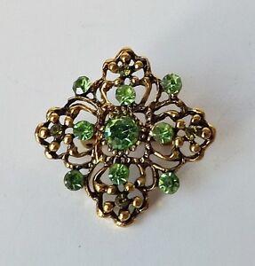 Blueten-Brosche-florales-Ornament-Raute-Vintage-Strass-gruen-antik-gold