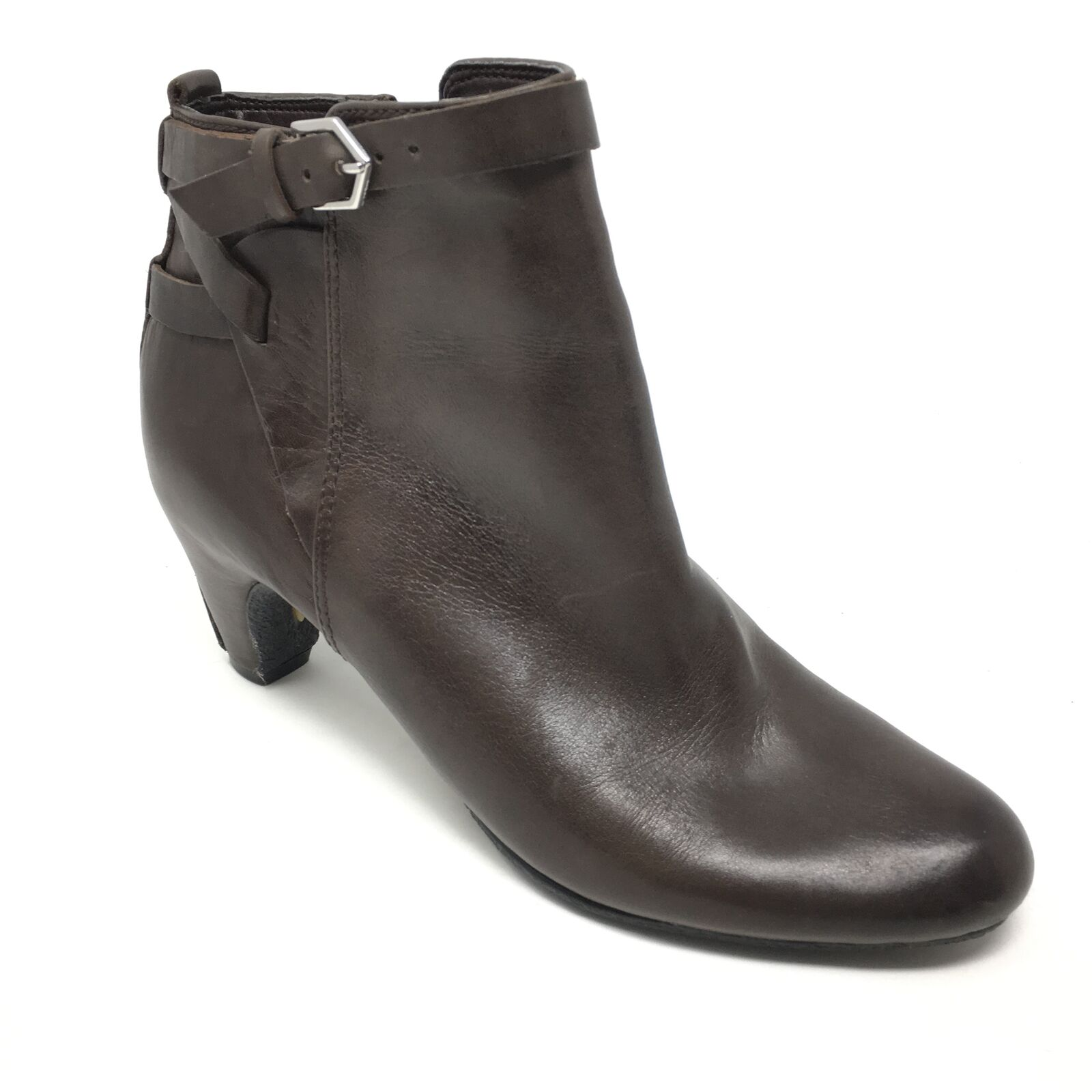 Women's Sam Edelman Maddox Ankle Boots Booties shoes Size 6.5M Brown Zip Up I15