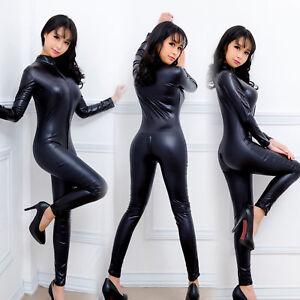 463482010866e Details about Hot Sexy Faux Leather Latex Catsuit Wet Look Jumpsuit Zipper  Elastic PU Bodysuit