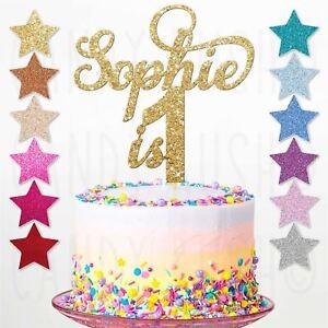 Personalised 1st Birthday Glitter Cake Topper Custom Any Name Age