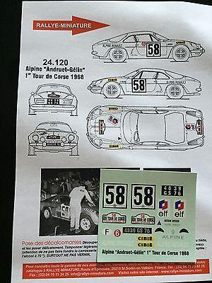 Decals 1/24 Alpine Renault A110 Andruet Rallye Tour De Corse 1968 Wrc Rally